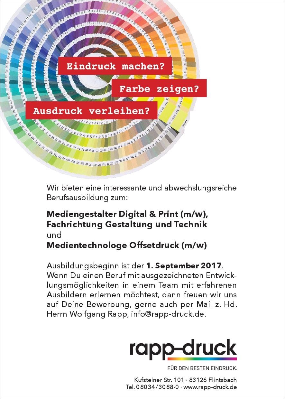 Stellenanzeige der Druckerei Rapp-Druck GmbH für Mediengestalter Medientechnologe
