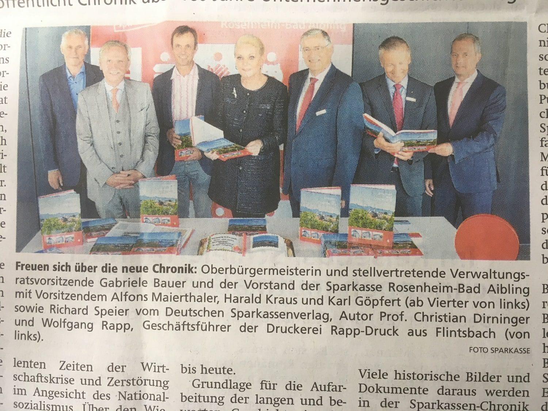 Vorstellung der Chronik der Sparkasse Rosenheim-Bad Aibling 160 Jahre Unternehmensgeschichte
